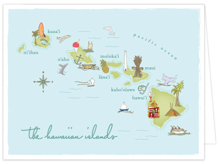 Island Map Folded Note Cards - Single or Set of 6