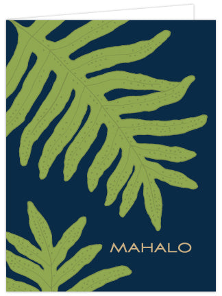 Lauae Print Mahalo Folded Note Cards - Single or Set of 6