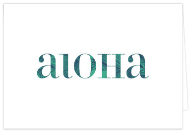 Aloha Print Folded Note Cards - Single or Set of 6