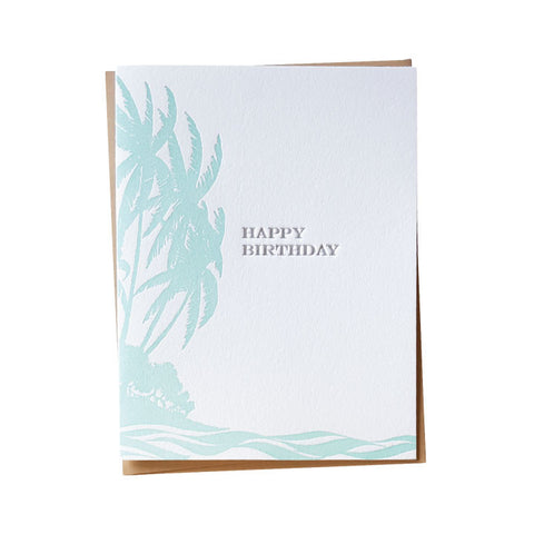 Vintage Island Birthday Card