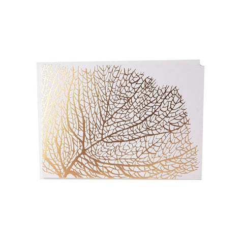 Gold Foil Fan Coral Note Card