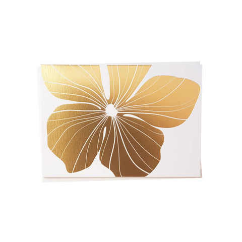 Gold Foil Hibiscus Note Card