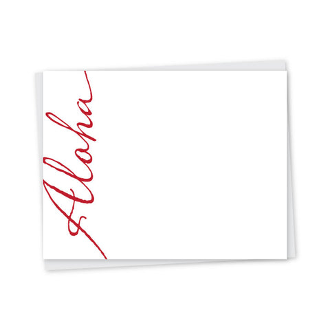 Aloha Script Letterpress A2 Flat Note Cards - Set of 6