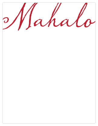 Mahalo Script Letterpress A2 Flat Note Cards - Set of 6