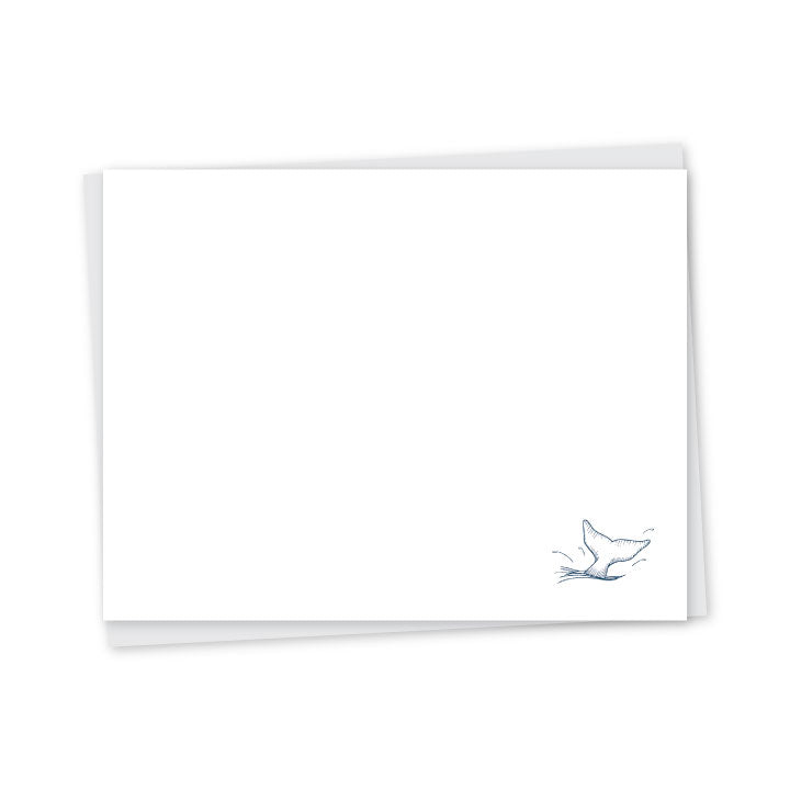 Whale Tail Letterpress A2 Flat Note Cards - Set of 6