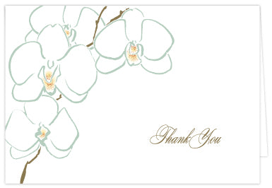 Orchid Thank You Folded Note Cards - Single or Set of 6