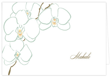 Orchid Mahalo Folded Note Cards - Single or Set of 6