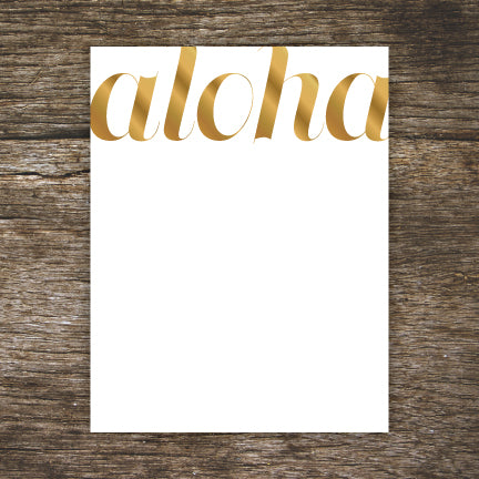 Mahalo Gold Foil A2 Flat Note Cards - Set of 6