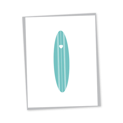 Surf Heart Letterpress Card