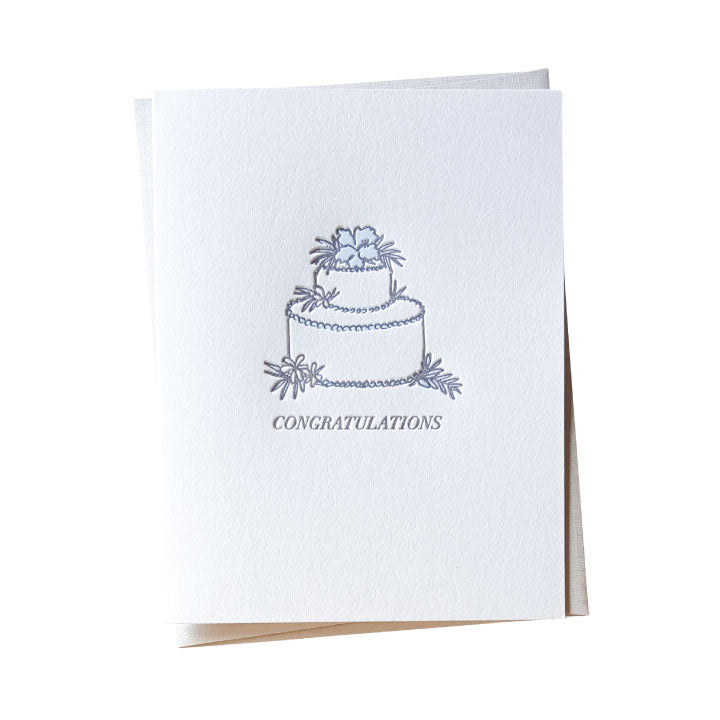 Hibiscus Wedding Cake Letterpress Card