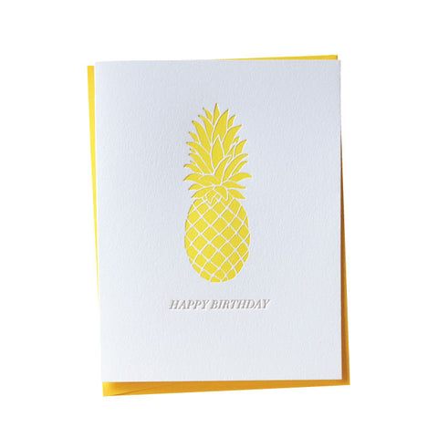 Letterpress Pineapple Birthday