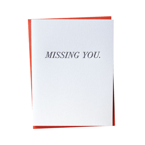 Simple Missing You Letterpress Card