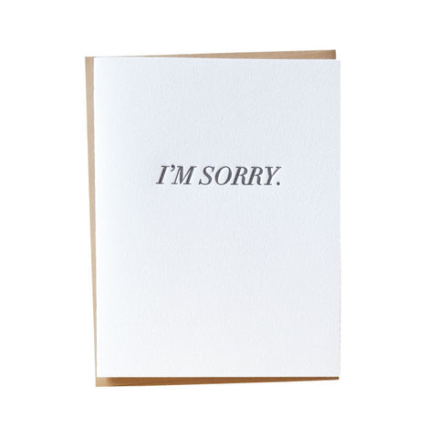 Simple I'm Sorry Letterpress Card