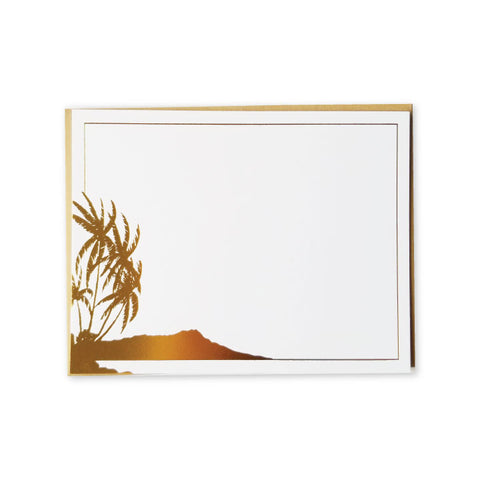 Vintage Diamond Head Gold Foil A2 Flat Note Cards - Set of 6