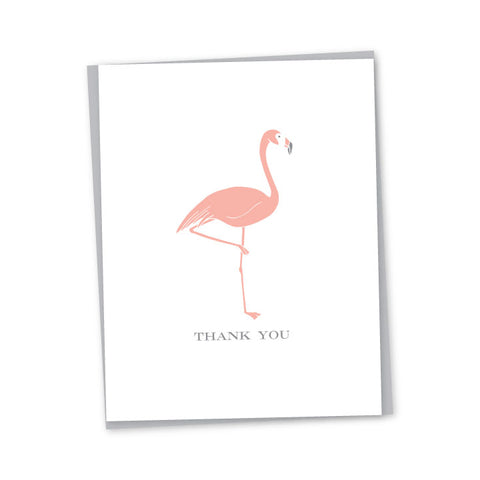 Thank You Flamingo Letterpress Card
