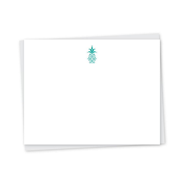 Modern Pineapple Letterpress A2 Flat Note Cards - Set of 6) 155s