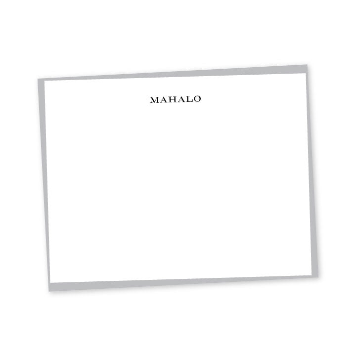 Navy Aloha or Mahalo Letterpress A2 Flat Note Cards