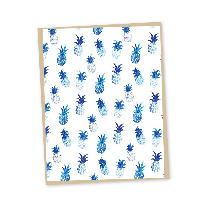 Blue Pineapple Folded Note Cards
