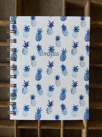 Blue Pineapple Spiral Bound Notebook