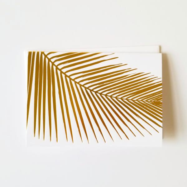 Palm Leaf Gold Foil Folded Note Cards - Single or Set of 6