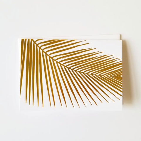 Gold Foil Palm Leaf Folded Note Cards - Single or Set of 6