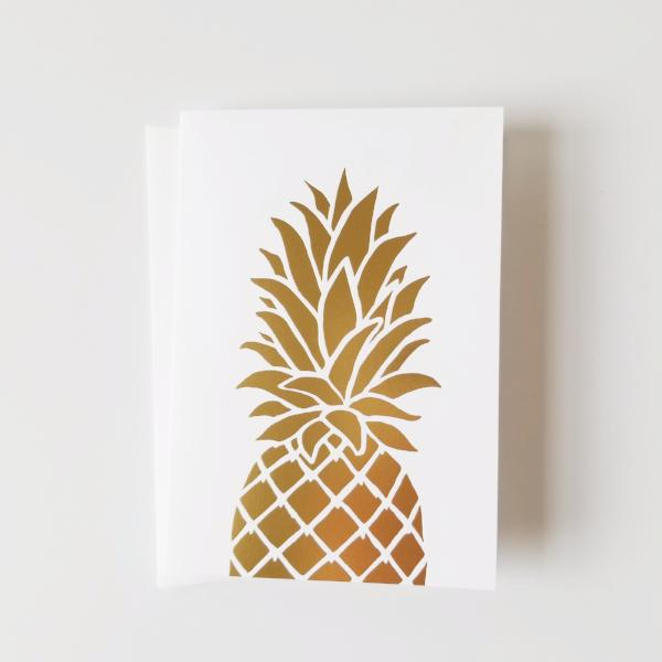 Gold Foil Pineapple Note Card