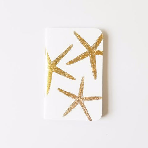 Gold Foil Starfish Mini Notebook