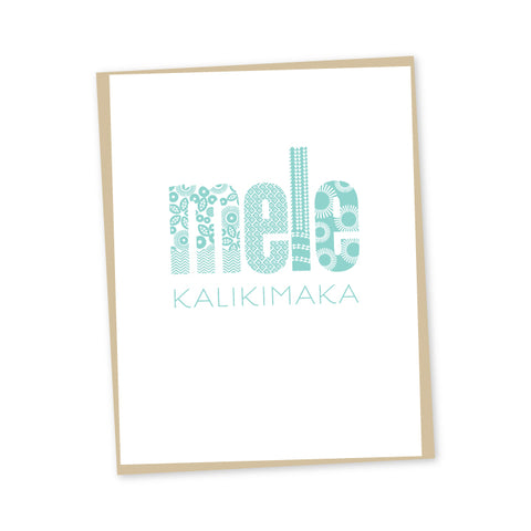 Kapa Print Blue Mele Kalikimaka Letterpress Cards - Set of 6