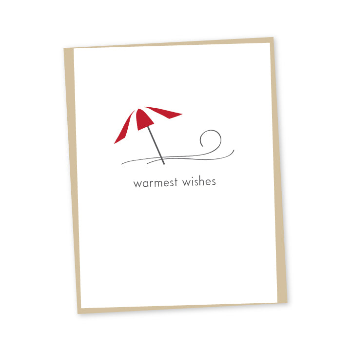 Umbrella Warmest Wishes Letterpress Card