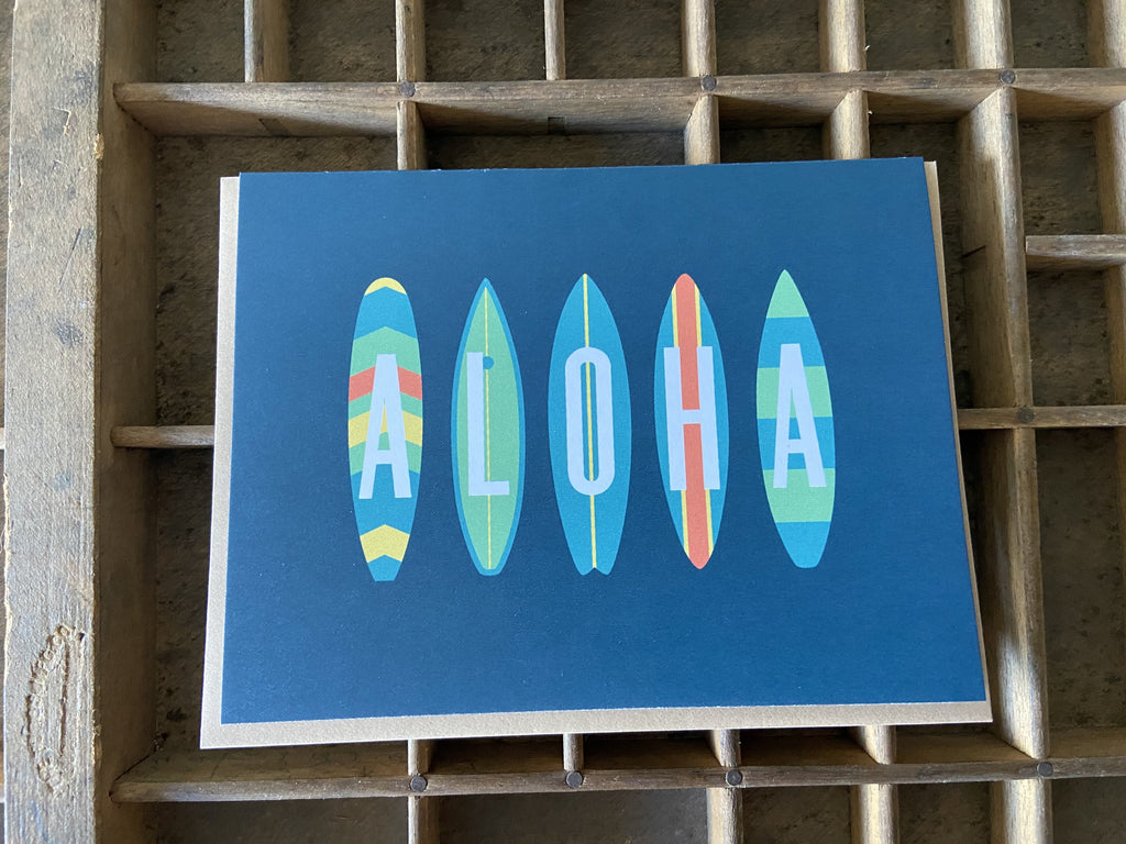 Blue Aloha Surf Folded Note Cards - Single or Set of 6
