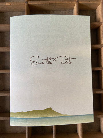 SALE!! 40% OFF! Diamond Head Save the Date Folded Card