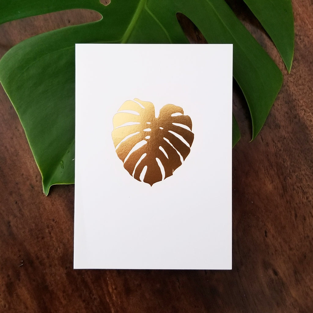 Gold Foil Monstera Card