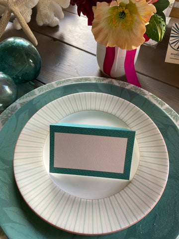 Teal pattern Place Cards
