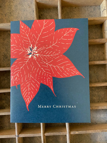 Poinsettia Merry Christmas Holiday Card