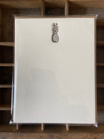 Vintage Pineapple Letterpress A2 Flat Note Cards - Set of 6