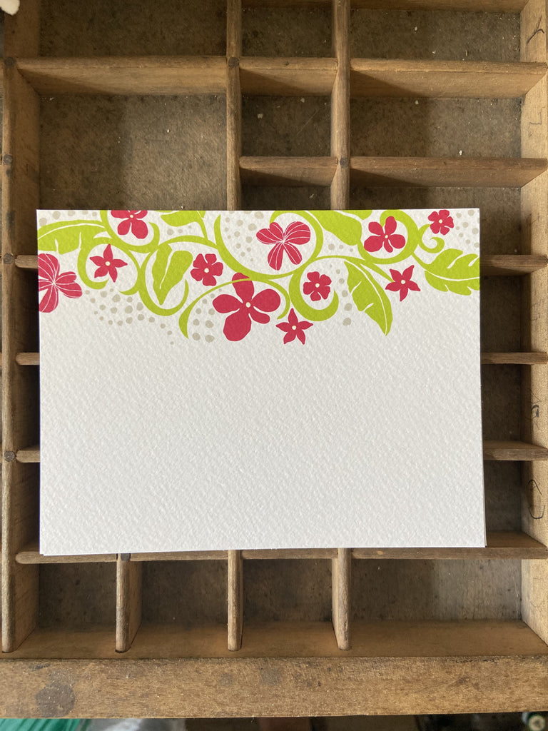 Tropical Floral Flat note cards 6pack