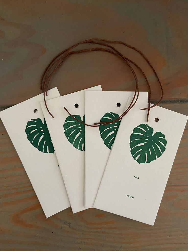 Monstera letterpresss Gift tags