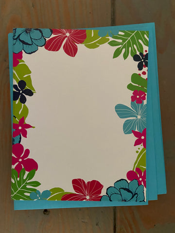 Bright Tropical Floral Flat note cards 6pack