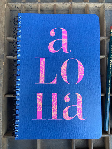 Stacked Aloha Large Spiral Notebook
