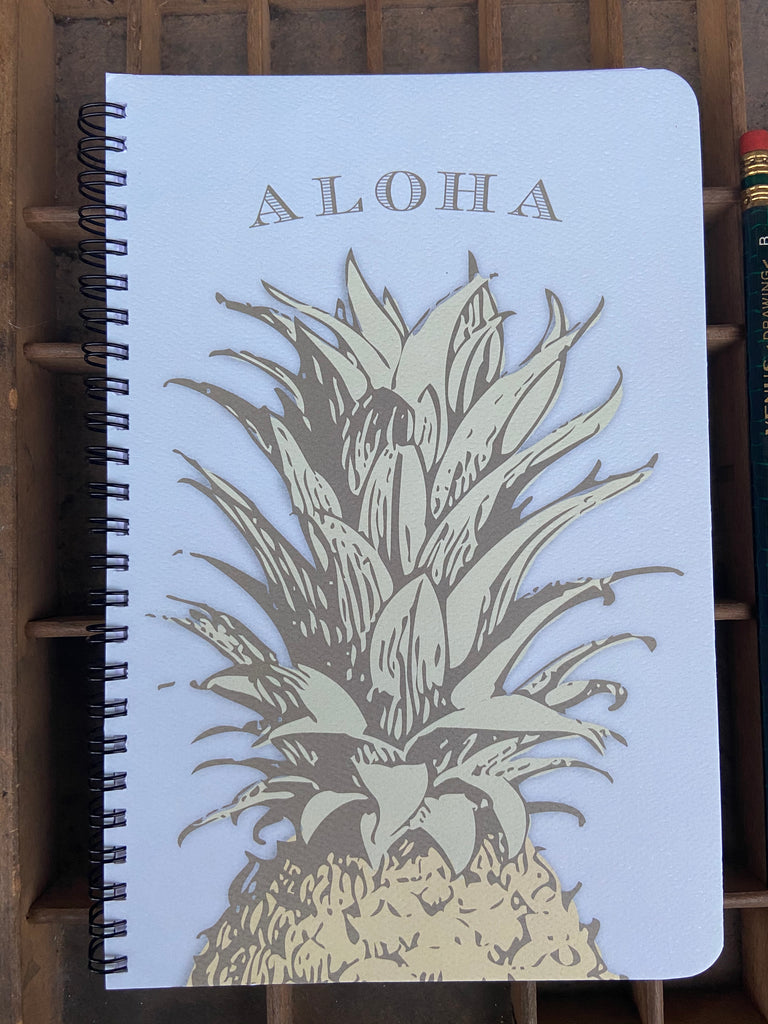 Vintage Pineapple Aloha Large Spiral Notebook
