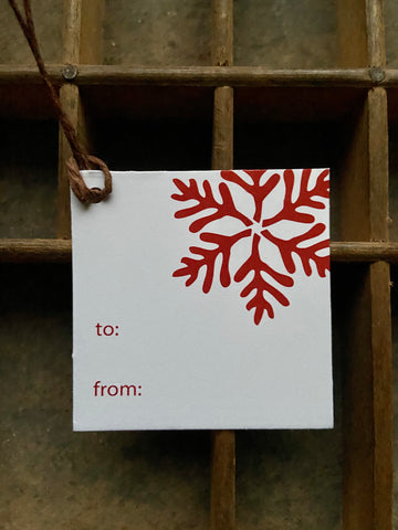 Snowflake Red Gift Tag