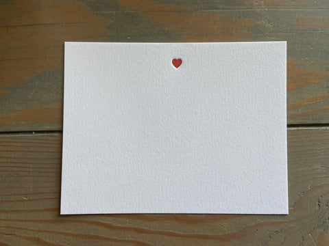 Simple Red Heart Letterpress note card