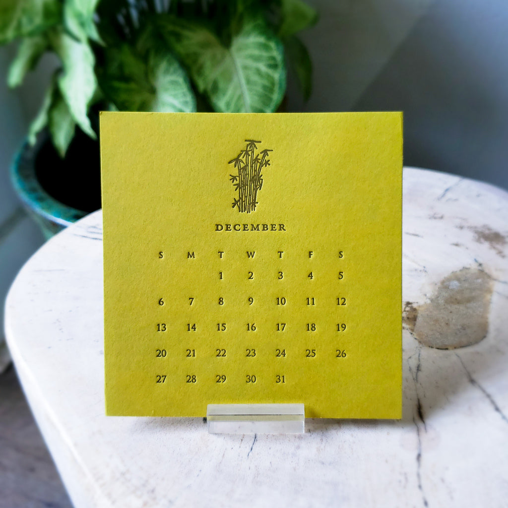 Mini Letterpress 2020 Desk Calendar with Lucite Stand