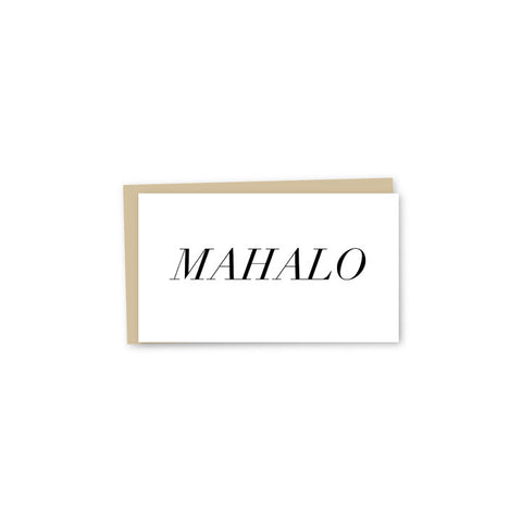 Block Mahalo Letterpress Mini-Card - Wholesale (Min. 12 Units)