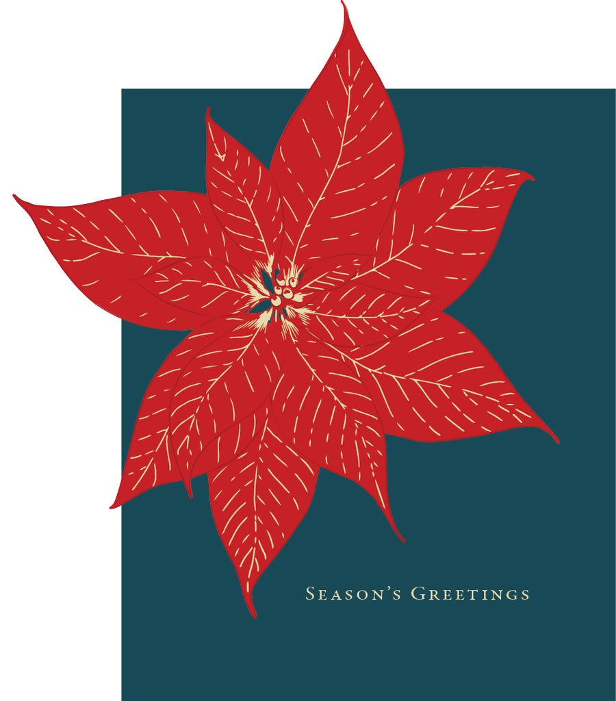 Poinsettia Seasons Greetings Holiday Card