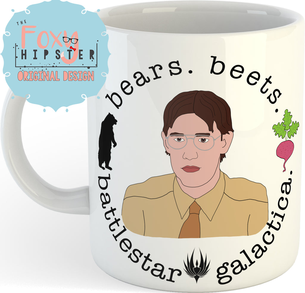 Jim Halpert Bears Beets Battlestar Galactica  11oz Coffee Mug The Office