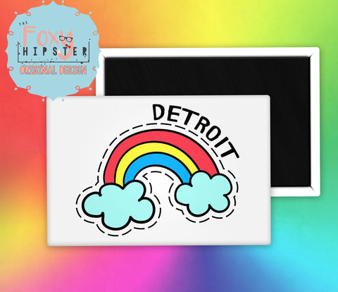 Detroit Rainbow Fridge Magnet