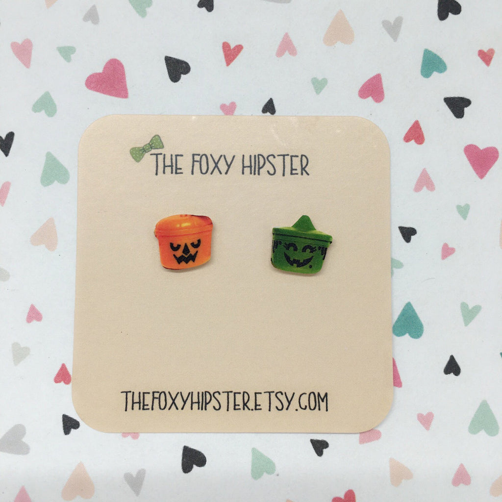 Halloween Bucket Stud Earrings