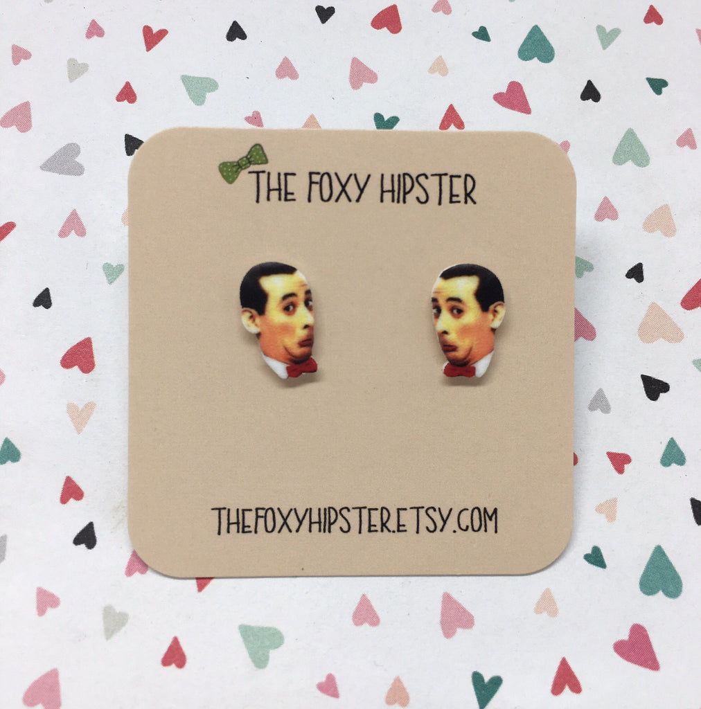 Pee Wee Herman Inspired Stud Earrings