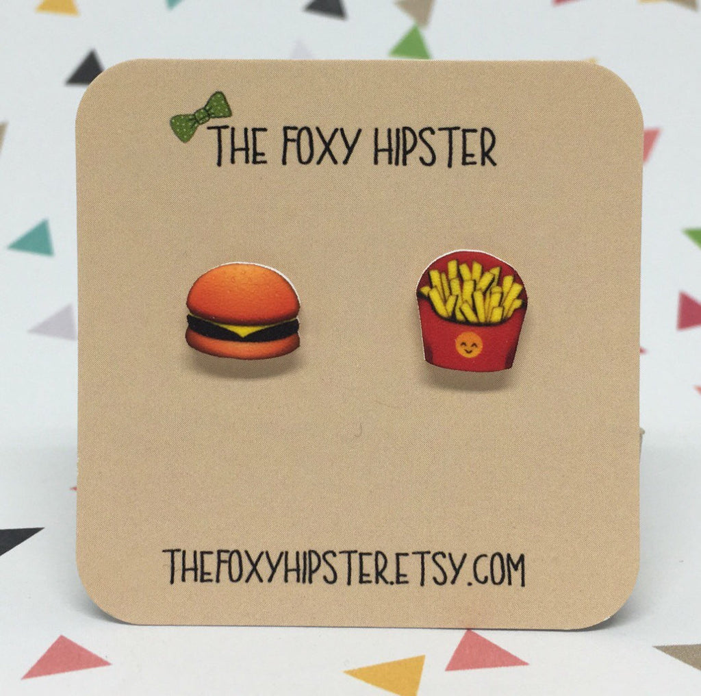Burger and Fries Emoji stud Earrings
